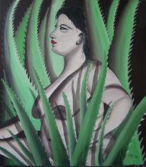 Ölmalerei, Aloe, Frau, Malerei