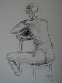 Frau, Skizze, Sitzen, Akt