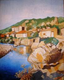 Fluss, Südfrankreich, Felsen, Malerei