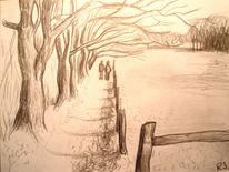 Spaziergang bäume weg, Zeichnungen, Spaziergang
