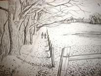 Spaziergang bäume weg feder, Zeichnungen, Spaziergang
