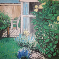 Rosen garten blumen, Malerei, Terrasse