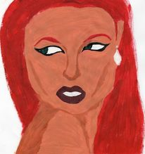 Sinnlichkeit, Acrylmalerei, Rot, Portrait