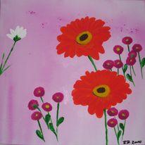 Blumen, Acrylmalerei, Serviertentechnik, Malerei