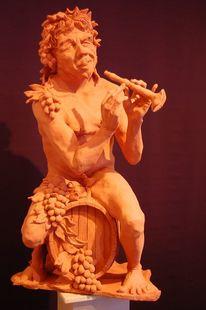 Skulptur, Bacchus, Tonfigur, Keramikplastik