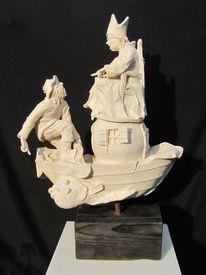 Plastiken, Mann, Netz, Skulptur