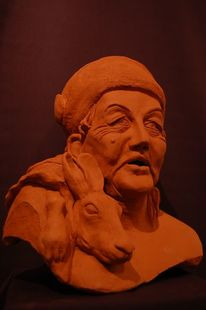 Keramikskulptur, Keramikfigur, Kopf, Charaktergesicht