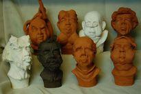 Charaktergesicht, Keramikköpfe, Plastiken, Clown