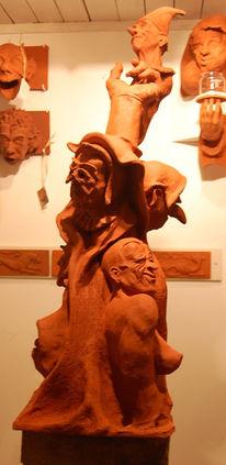 Tonskulptur, Keramikfigur, Skulptur, Rot