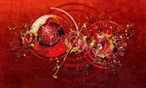 Uhrwerk, Rot, Kreis, Schatten