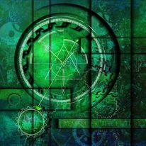 Zahlen, Abstrakt, Surreal, Grün