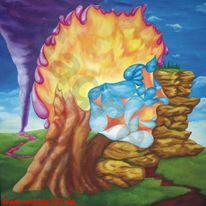 Acrylmalerei, Flammen, Tropfen, Holz