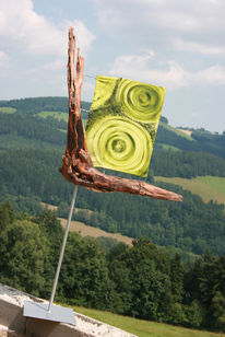 Besonder, Grün, Skulptur, Holz