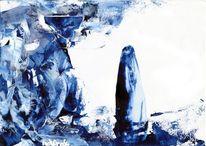 Malerei, Abstrakt, Blau, Schneemann