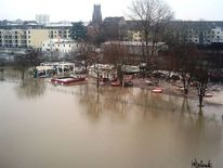 Rhein, Beachclub, Überschwemmung, Rheinhochwasser2011 köln