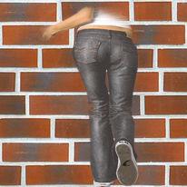 Digitale kunst, Wandbild, Mauer, Kopf