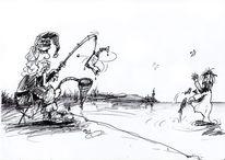 Zeichnungen, Weihnachtsmann, Fischen