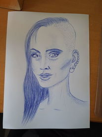 Kohlezeichnung, Kugelschreiber, Fantasie, Model