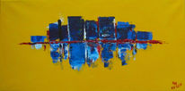 Stadt, Skyline, Farben, Malerei