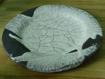 Raku, Teller, Keramik, Kunsthandwerk