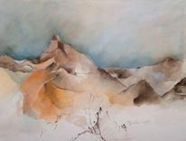 Berge, Aquarellmalerei, Orange, Alpen
