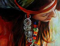Portrait, Heile welt, Ölmalerei, Fragment