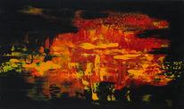 Indisch, Acrylmalerei, Gelb, Abend