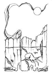 Mädchen, Meer, Tintenfisch, Zeichnungen