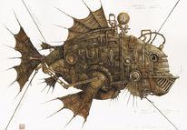 Technik, Fantasie, Fisch, Malerei