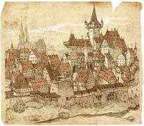 Landschaft, Märchen, Illustration, Mittelalter