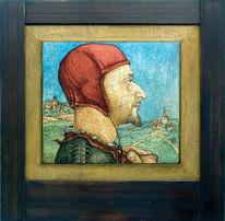 Mittelalter, Portrait, Malerei, Selbstportrait
