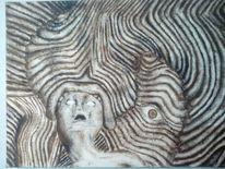 Streifen, Kopf, Monster, Malerei
