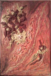 Malerei, Rot, Gold