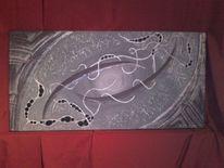 Malerei, Grau, Silber, Violett