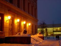 Halle, Winter, Saale, Winterabend