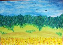 Landschaft, Gouachemalerei, Malerei