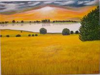 Ölmalerei, Landschaft, Malerei, Ruhe
