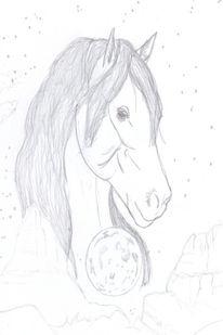 Bleistiftzeichnung, Araber, Pferde, Wüste