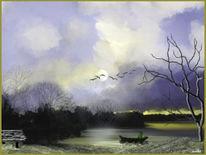 Vogel, Landschaft, Heimkehr, Horizont