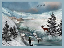 Schneewolken, Bach, Bergkette, Winter