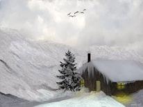 Bergkette, Bergdolen, Schneewolken, Hütte