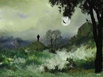 Vollmond, Hirsch, Wolken, Mann