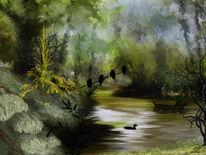 Fischer, Landschaft, Boot, Ente
