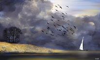 Vogel, Meer, Stille, Horizont