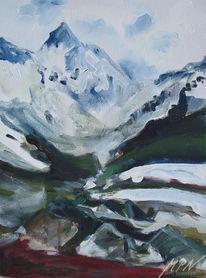 Tal, Frühling, Schnee, Berge