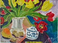 Acrylmalerei, Blüte, Blumen, Stillleben