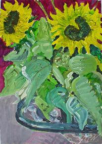 Blumen, Acrylmalerei, Blumenstillleben, Sonnenblumen