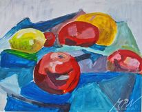 Acrylmalerei, Apfel, Zitrone, Kubismus