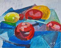 Apfel, Zitrone, Kubistisch, Blaue decke