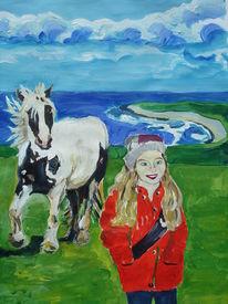 Kind, Irland, Pony, Küste